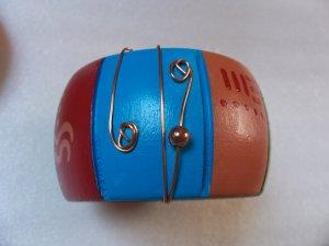 Wood Copper Wire Wrap Bangle Colorful Bracelet Pair