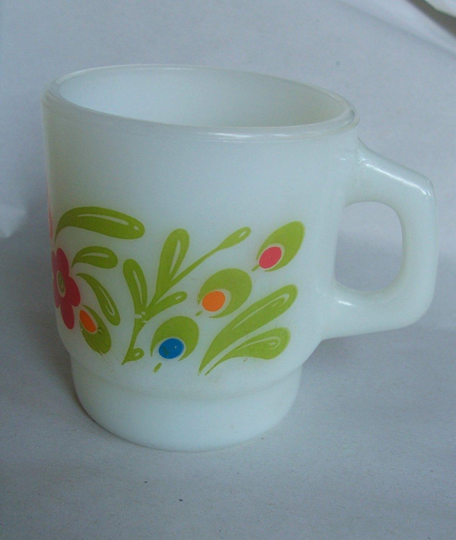 Vintage Gay Fad Anchor Hocking Mug Cup Floral Rare