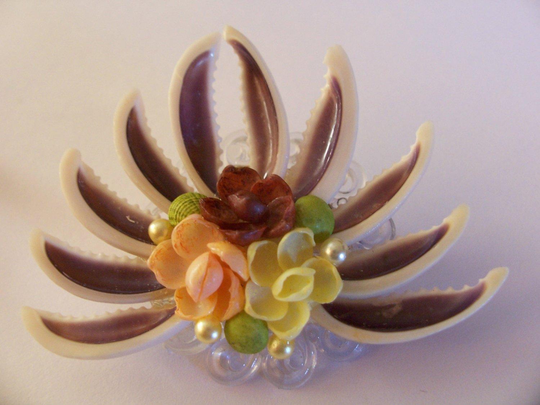 Vintage Flower Bouquet Shell Fan Faux Pearl Pin Brooch