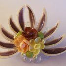 Vintage Flower Bouquet Shell Fan Faux Pearl Pin Brooch