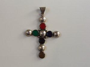 Vintage Sterling Silver Southwestern 925 & Multi Stone Cross Pendant