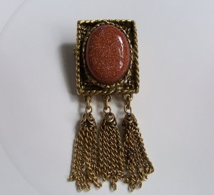 Vintage Goldstone Gold Stone Chain Dangle Tassel Brooch