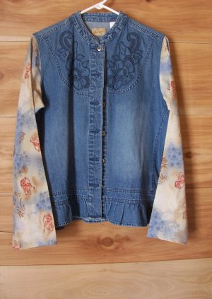 Vintage 80s Wrangler Ladies Western Blouse Shirt Cowgirl Horse Rose Flower Denim Large