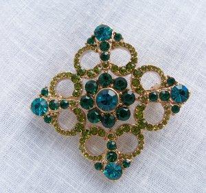 Vintage Teal Blue & Green Glass Rhinestone Pin Brooch Liz Claiborne