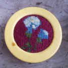 Vintage Celluloid Sewing Pin Cushion Needlepoint Top