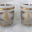 Vintage Garden of the Gods Southwestern Frosted Kokopelli Gold Leaf Glass Pair