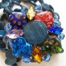 Vintage Floral Millefiori Heart Bead Multi Strand Stretch Bracelet Small Wrist