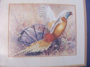 "Vintage Simplicity Crewel Kit Autumn Pheasant Wagon Wheel Field 14"" x 11"" NOS"