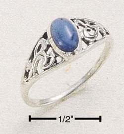 SR-42 : STERLING SILVER RAISED FILIGREE ring BAND W/ OVAL DENIM LAPIS SIZES 4-8