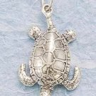CH-62 : STERLING SILVER ANTIQUED UPSIDE DOWN DEEP SEA TURTLE CHARM