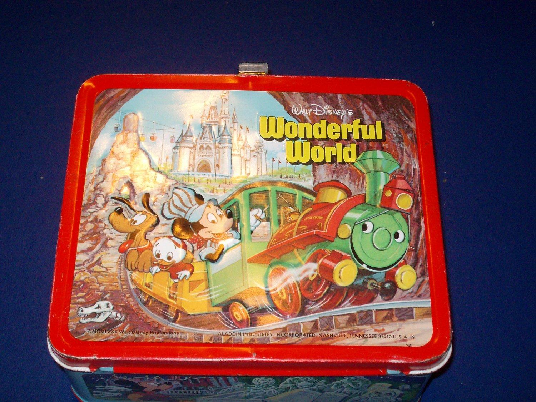 1980 ALLADIN - METAL - WALT DISNEY'S WONDERFUL WORLD/WORLD ON ICE - LUNCHBOX & THERMOS EXCELLENT