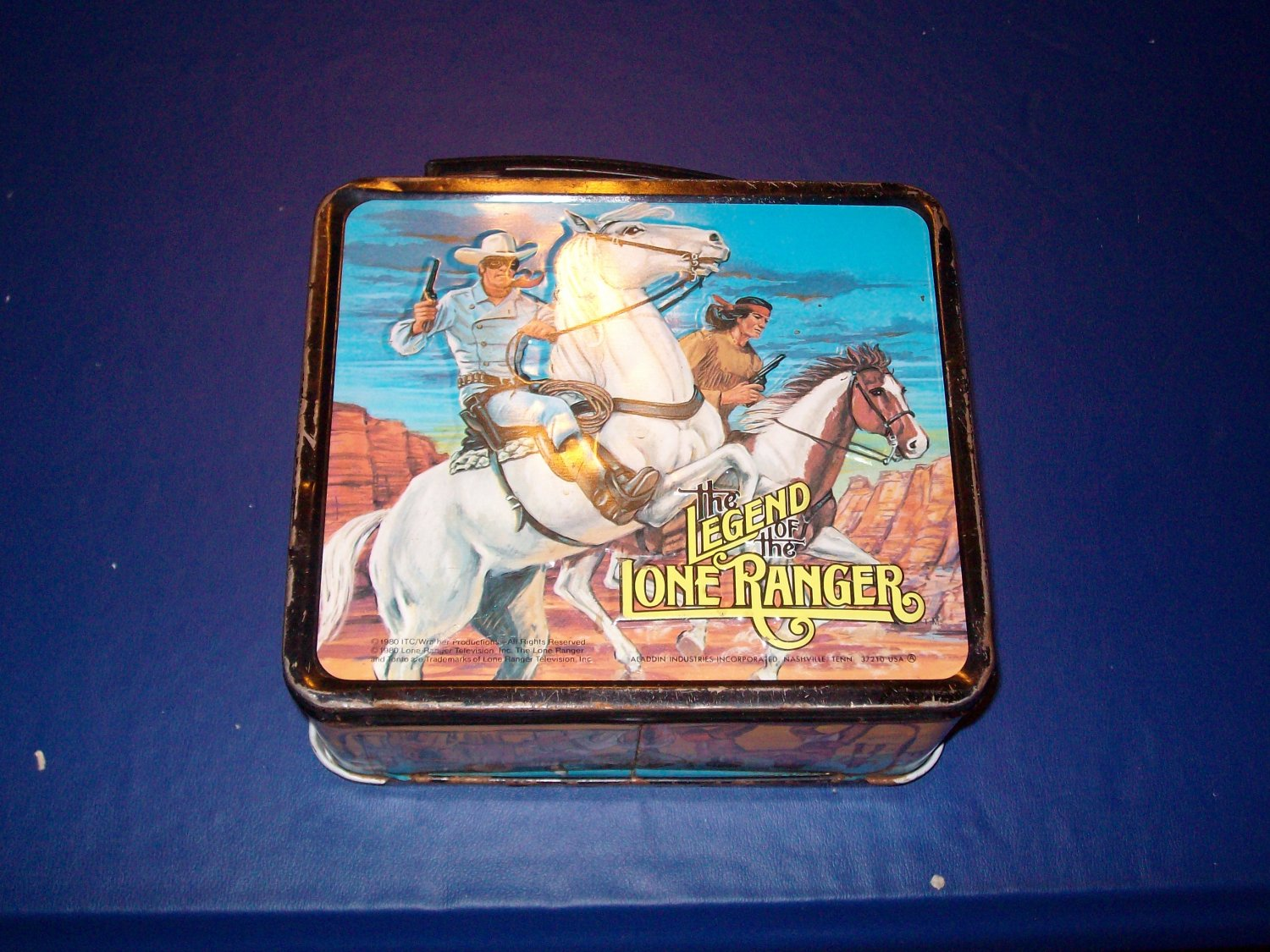 1980 ALLADIN - METAL - LUNCHBOX  & THERMOS - THE LEGEND OF THE LONE RANGER -- EXCELLENT COMPLETE