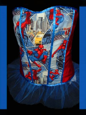 Gothic/Geeky Boned SpiderMan Corset Bustier Small -Medium