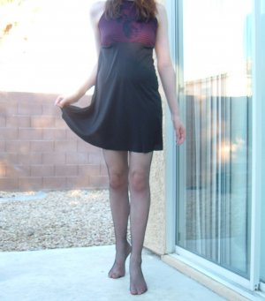 Red and black striped skull babydoll dress