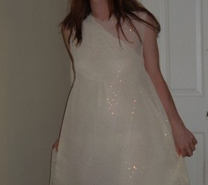 Ivory White dress-with sheer sequined overdress