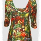 Festive Multi Colored Paisley Top Plus Size 1x-2x