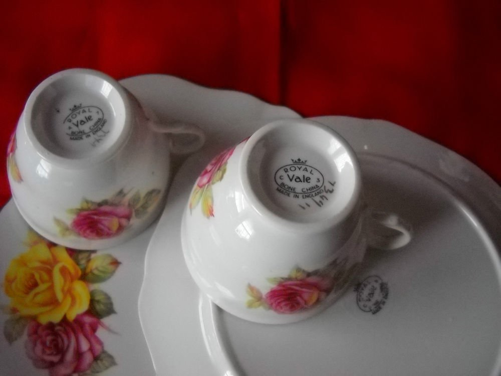 TWO (2) Royal Vale Cup and plate SETS- RED/YELLOW Roses -Bone china England
