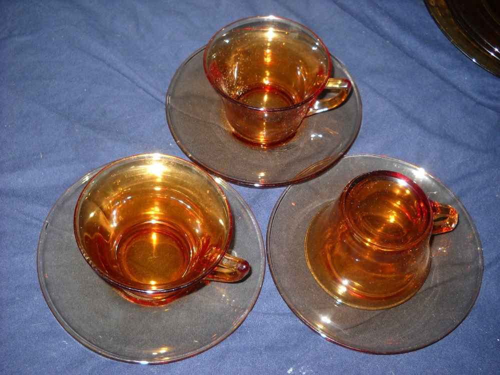 Cambridge Amber PLAIN Depression Glass Cup & Saucer(6 available