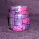 Recycled Jar Tealight Holder - Purple and Pink