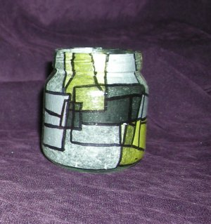 "Recycled Jar Tealight Holder - Yellow and Black ""Banana Belt"""