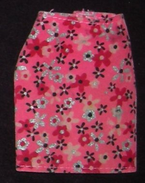 Barbie Fashion Ave Pink Flowered Skirt (Barbie clothes, clothing, skirt, Fashion Avenue)
