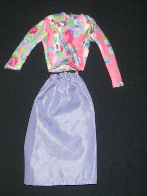 Barbie Clothes Purple Skirt with Floral Shirt (barbie outfit, fashions, fashion)