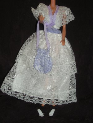 Barbie Clothes Clone Dress Gown White and Purple Lace (barbie fashions, doll clothes, outfits)