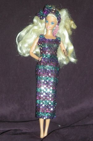 Barbie Clone Lucky Brand Sheath Dress Headband Purple Sparkles (barbie, doll clothes, outfits)