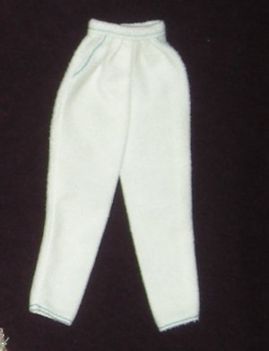 Barbie Clothes Pants White Felt with Blue (barbie fashions, doll clothes, outfits)