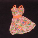 Barbie Clothes Dress Orange Pink Blue Pattern (barbie fashions, doll clothes)