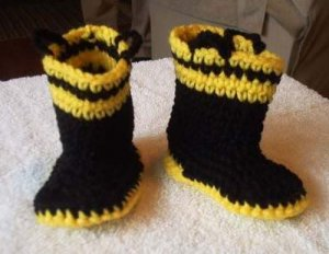 FIREMAN FIREFIGHTER CROCHET BABY BOOTIES BOOTS GIRL BOY