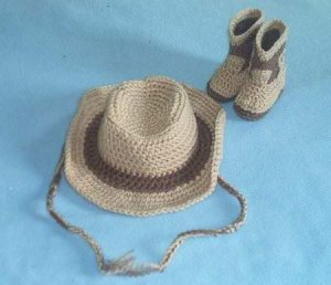 CROCHET COWBOY COWGIRL HAT & BOOTIES SET FOR BABY