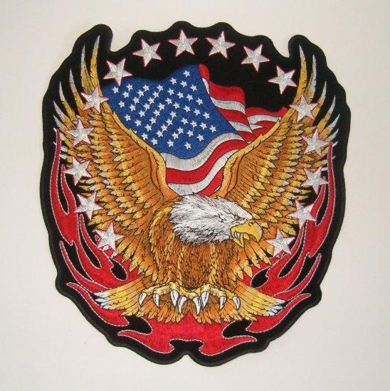 """Harley Davidson Eagle on Flag 11"""" Patch"""