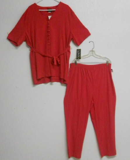 Red 2pc Top & Pant Set By For You One Sz 2X NWT