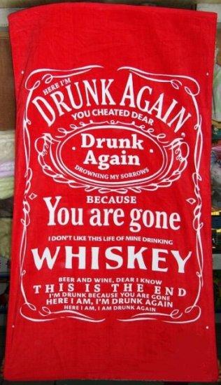 Drunk Again Whiskey 100% Cotton Beach Bath Sofa Picnic Towel