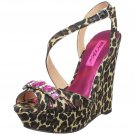 Betsey Johnson Elvira Ankle Wedge Leopard Pink Animal