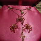NIB Betsey Johnson Pink Spider Necklace Earrings Set