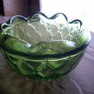 Vintage Viking Glass Green Rose Bowl