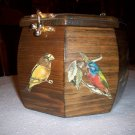 Vintage Bird Decaled 8-sided Wooden Box w/handle