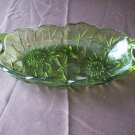 Two Handled Green Glass Candy Dish