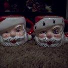 2 Vintage Ceramic Santa Head Cups  Lot 4