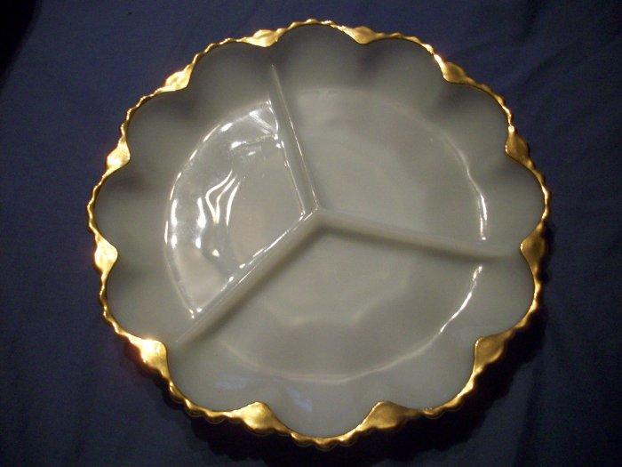 "10"" Milk Glass Relish Tray"