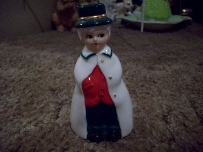 """4"""" Ceramic Bell Man in White Coat and 3 1/4"""" Lady in a White Over-Coat Bell"""