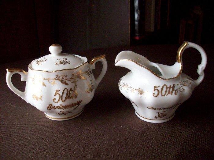 Norcrest Vintage 50th Anniversary  Fine China Creamer & Sugar Bowl