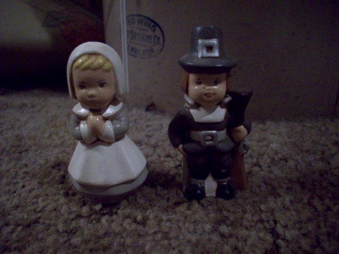Ceramic Man and Lady Pilgrims Set
