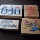 Lot of  4  Wood Block Rubber Stamps