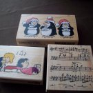 Lot of 3 Wood Block Rubber Stamps