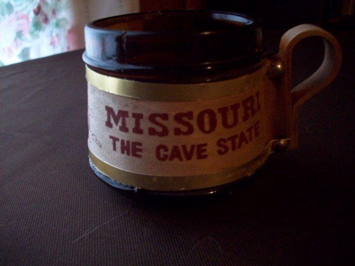Small Brown Glass Barrel Mug Missouri