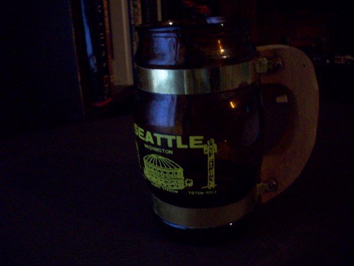Brown Glass Barrel Mug  Seattle