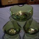 Vintage Rippled Green Glass Bowls   Set of 3